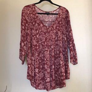 Torrid Plus Size buttoned floralTop/blouse Sz 3X